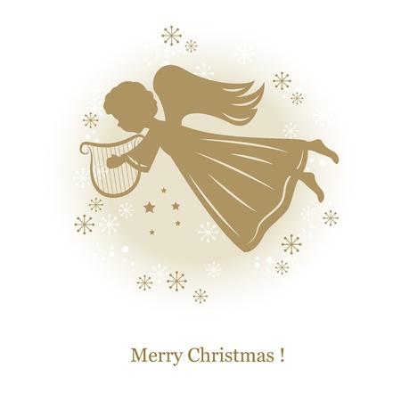 harfe: Little cute fliegenden Engel mit Harfe. Hand Zeichnung, Illustration,
