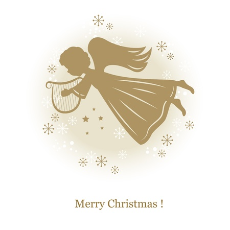 Little cute flying angel with harp . Hand drawing illustration Vector