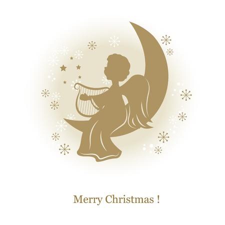 Pequeño ángel lindo con el arpa en una luna. Mano ilustración dibujo