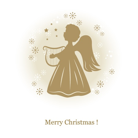 christmas angels: Little cute angel with harp. Hand drawing illustration