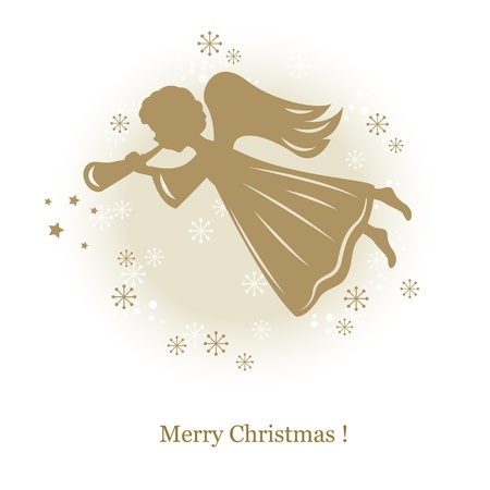 Little cute flying angel with flute. Hand drawing illustration Vector