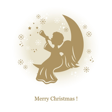 christmas angels: Little cute angel with flute on a moon. Hand drawing illustration