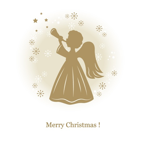 Little cute angel with flute. Hand drawing illustration Vector