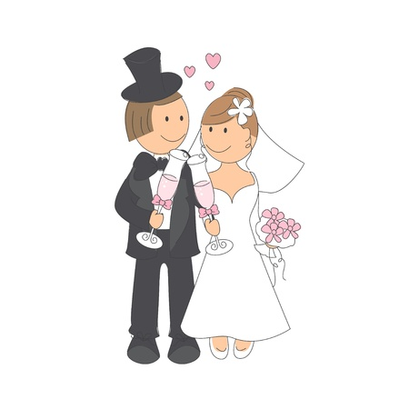 Wedding couple clinking glasses of a champagne, hand drawing illustration on white background
