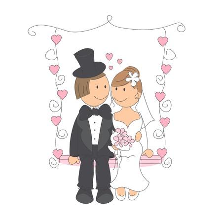 Bruidspaar swingend op een wipplank, hand tekening illustratie op witte achtergrond