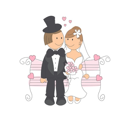 Wedding couple on a park bench, hand drawing illustration on white background