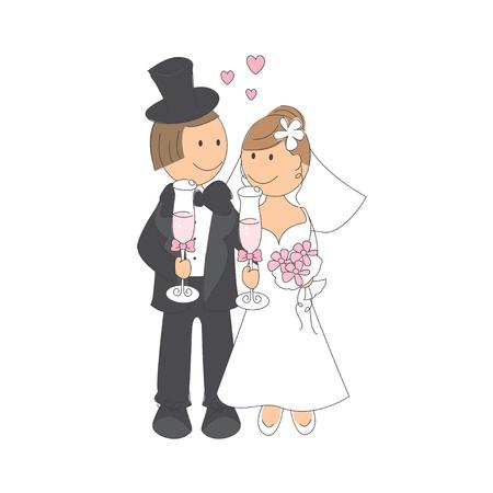 Bruiloft paar met glazen champagne, hand tekening illustratie op witte achtergrond