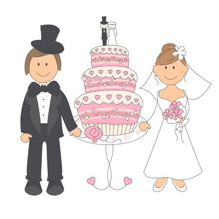 married: Wedding couple and wedding cake, hand drawing illustration on white background