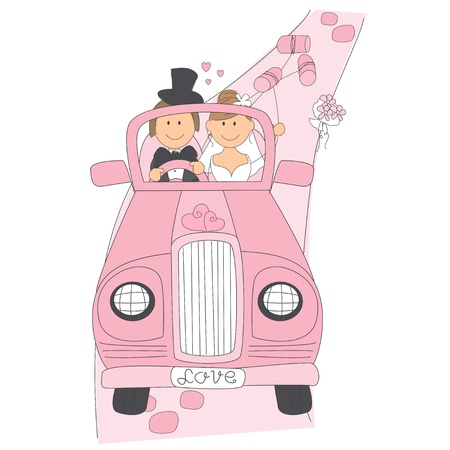 Wedding invitation with funny bride and groom on car driving to their honeymoon. Hand drawing illustration  イラスト・ベクター素材