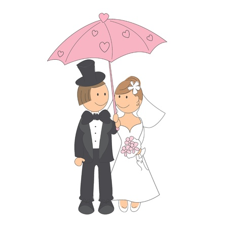 cartoon wedding couple: Wedding invitation with funny bride and groom under the umbrella of love. Illustration