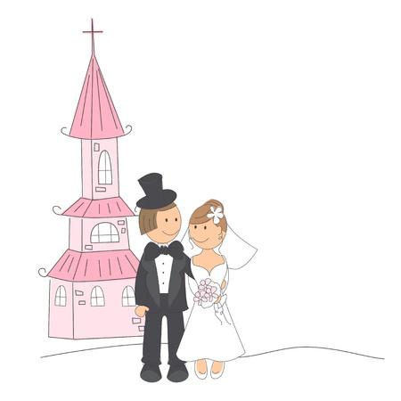 Invitación de la boda con la novia y el novio divertido salir de la iglesia. Mano ilustración dibujo. Ilustración de vector