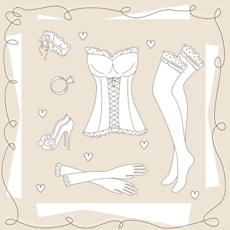 legs stockings: Set of ladies clothes. Hand drawing illustration. Illustration