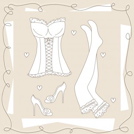 corsetto: Set di intimo da donna. A mano illustrazione. Vettoriali