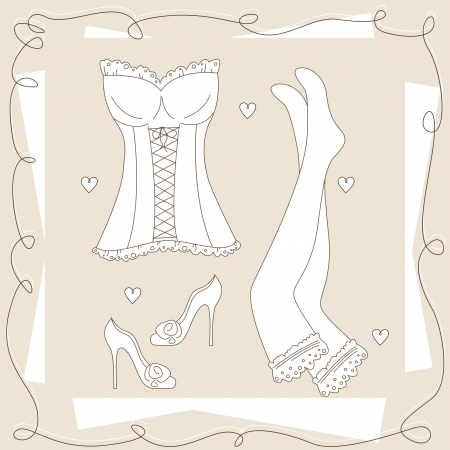corset: Set of ladies underwear . Hand drawing illustration.