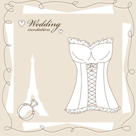 Vintage wedding invitation, background with corset for a  bride Vector