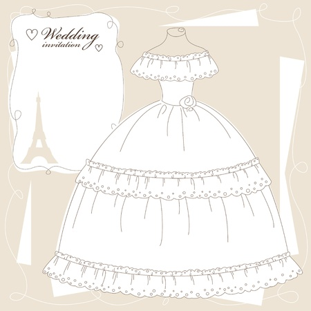 victorian people: Vintage wedding invitation, background with beautiful dress.