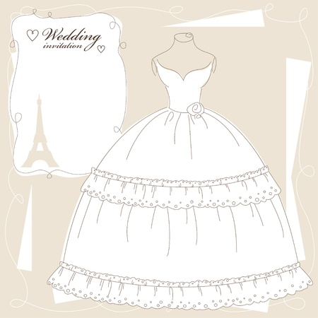 Vintage wedding invitation, background with beautiful dress. Vector