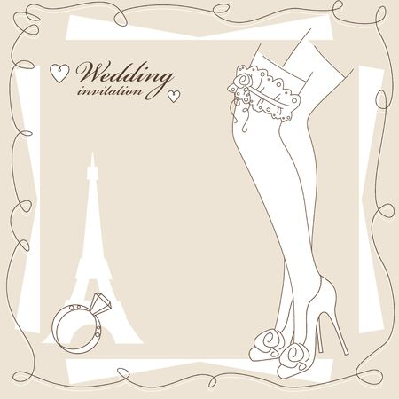 legs stockings: Vintage wedding invitation, background with pretty legs in stockings .