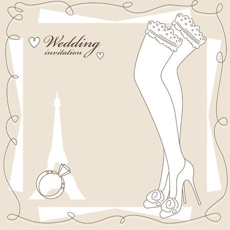 invitacion boda vintage: Invitaci�n de la boda del vintage, fondo con bonitas piernas con medias. Vectores