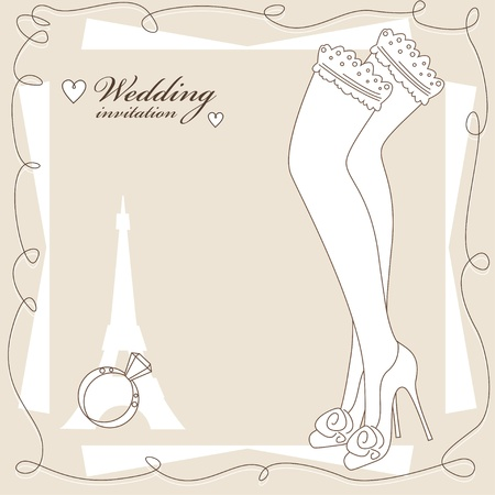 garter: Vintage wedding invitation, background with pretty legs in stockings .