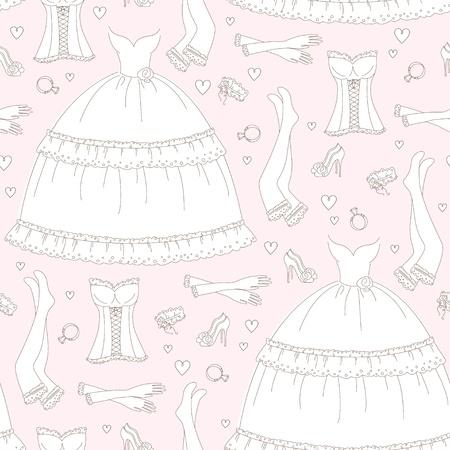 Wedding seamless pattern, hand drawing Vector