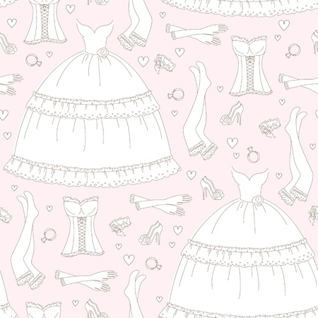 legs stockings: Wedding seamless pattern, hand drawing