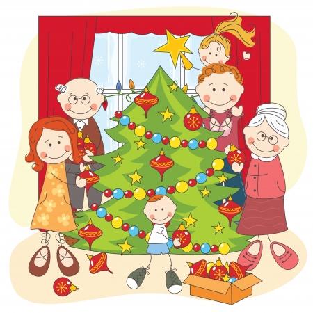 högtider: Den stora lyckliga familjen klä upp en julgran. handen ritning illustration. Illustration