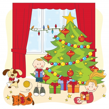 Christmas illustration. Kids opening gifts. Hand drawing. Vector