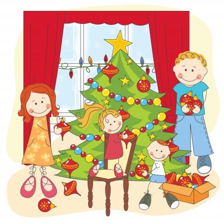 niños vistiendose: Los vestidos de la familia feliz en un árbol de Navidad. ilustración mano de dibujo.