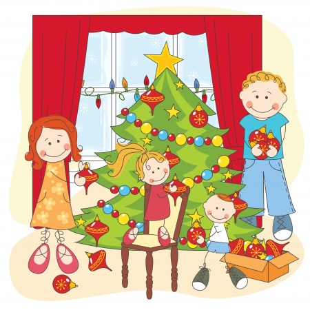 dressing room: The happy family dresses up a Christmas tree. hand drawing illustration.