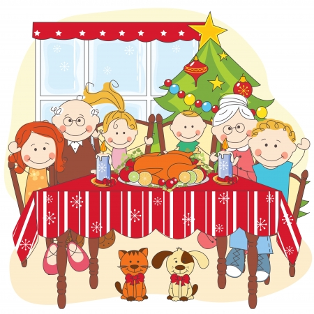 christmas room: Christmas dinner.Big happy family together. Hand drawing illustration.