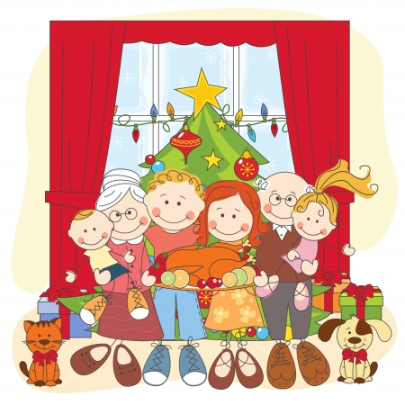christmas room: Christmas. Happy family together. Hand drawing illustration.