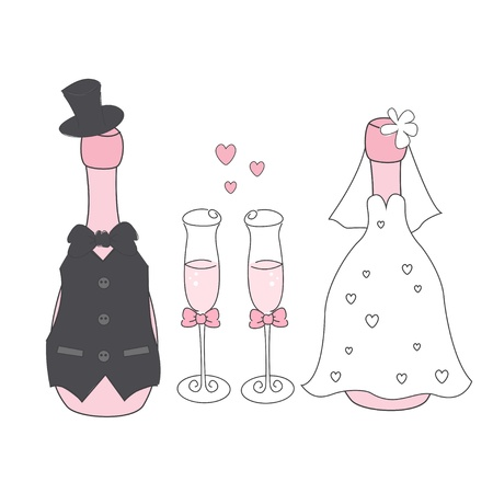 Wedding champagne bottles in suit and dress. Hand drawing illustration Stock Illustratie