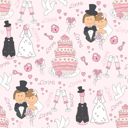 just married: Wedding seamless pattern. Hand drawing Illustration
