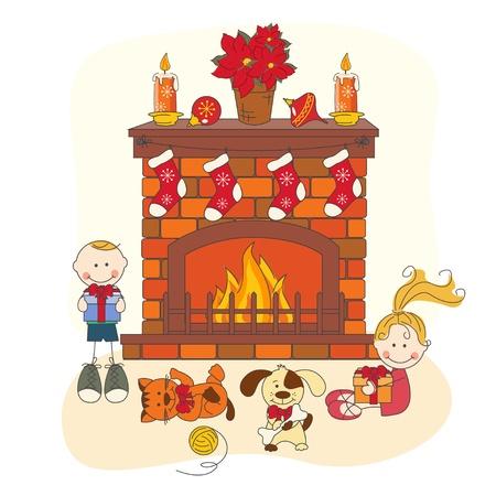 Kerstviering. Kinderen en huisdieren. Hand tekening illustratie