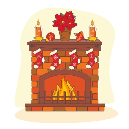 Christmas decoration  fireplace. Hand drawing illustration. Vector