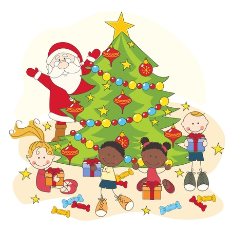 Christmas celebration. Santa and children. Hand drawing illustration Çizim