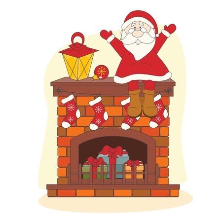 chimney: Santa sitting on chimney. Hand drawing illustration