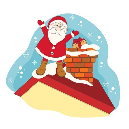 Santa on a roof house. Hand drawing illustration Vector