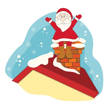 chimney: Santa sitting on roof house. Hand drawing illustration