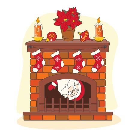 fireside: Santa greeting you a Merry Christmas. Hand drawing illustration. Illustration