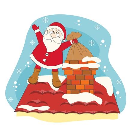Santa greeting you a Merry Christmas  Hand drawing illustration Stock Vector - 16843232