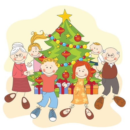 big family: Christmas  Happy family dancing together  Hand drawing illustration