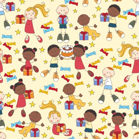 african boys: Seamless pattern with happy children