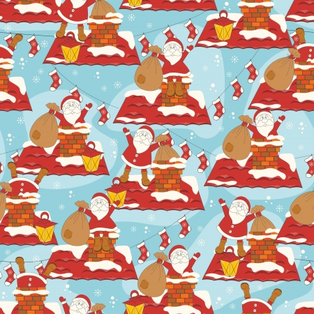 Christmas seamless pattern with Santa on roof of house Stock Vector - 16843254