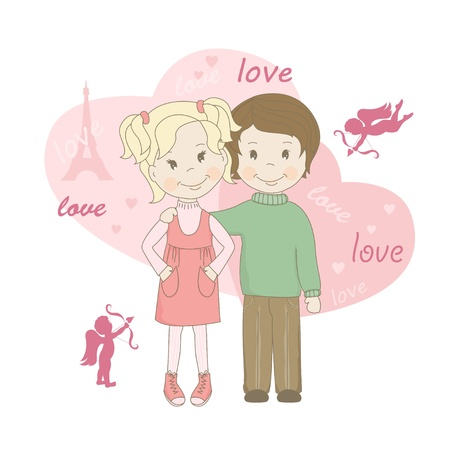 Boy and girl , Valentine s day greeting card  Vector