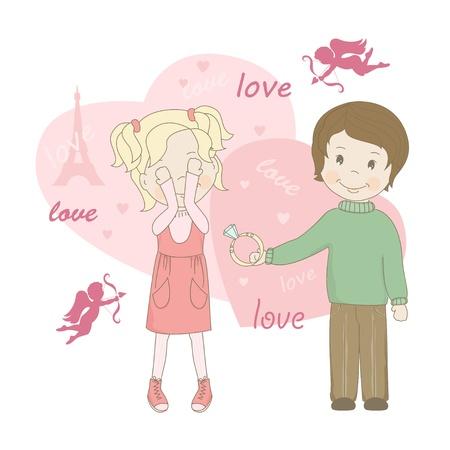 proposal of marriage: Il matrimonio proposta, carta di auguri di San Valentino s Vettoriali