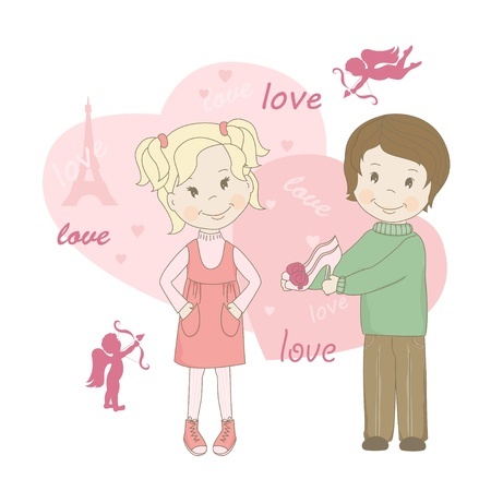 devotions: Boy and girl , Valentine s day greeting card