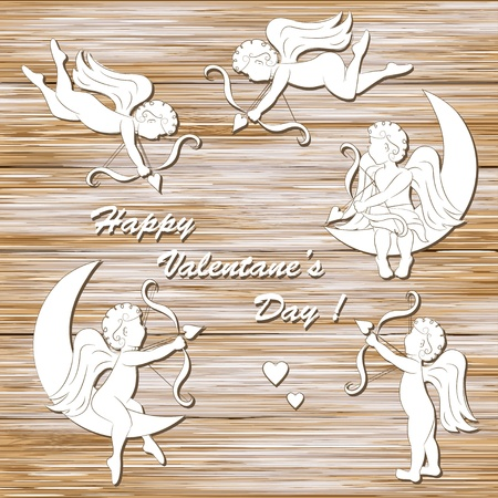 Happy valentine s day, set of cupid on a wood background Vector
