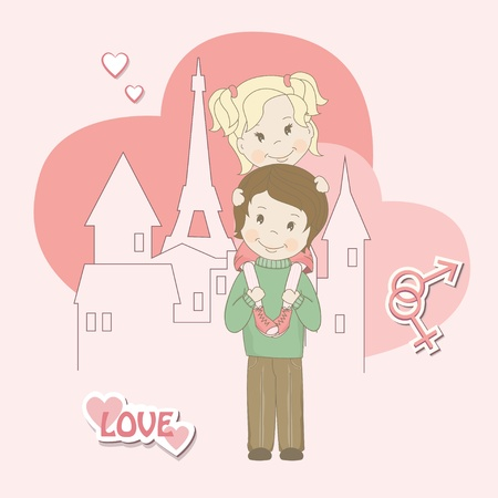 Romantic couple of lovers on urban background, vector illustration Stock Vector - 17452920